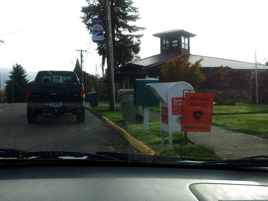 The ballot box alongside the road in North Plains, Oregon. Waiting in line to put my ballot in the box.