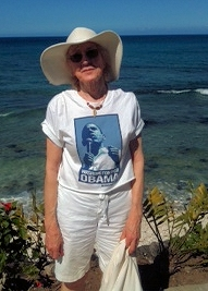 Ramona Fletcher wearing an Obama tshirt on the beaches of Hawaii on election day.